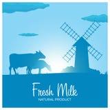 Натуральный продучт парного молока Сельский ландшафт с мельницей и коровами Рассвет в деревне Стоковое Изображение RF
