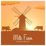 Натуральный продучт фермы молока Сельский ландшафт с мельницей и коровами Рассвет в деревне Стоковые Фотографии RF