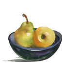 Натюрморт акварели с грушей и яблоком на плите Стоковое фото RF