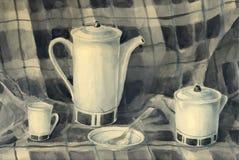 Натюрморт акварели чайника Стоковые Фото