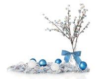 Натюрморт белого рождества Blueand Стоковые Фото