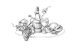 Натюрморт бутылки и стекла вина Стоковые Фото
