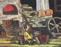 Натюрморт в русском стиле, хата с объектами обычной жизни, балалайкой Стоковые Фото