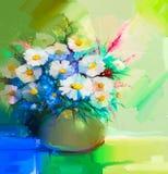 Натюрморт картины маслом белого gerbera, маргариток, сирени Стоковая Фотография RF