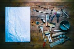 Натюрморт картины с серией типа щеток стоковые изображения