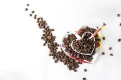 Натюрморт кофе на белой предпосылке Стоковое Изображение RF