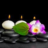Натюрморт курорта белых свечей, dendrobium цветка орхидеи и gr Стоковое Фото