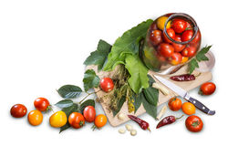 Натюрморт кухни объектов варя замаринованные томаты Стоковое фото RF