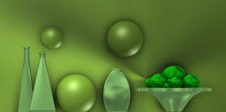 Натюрморт металла с зелеными шариками иллюстрация вектора