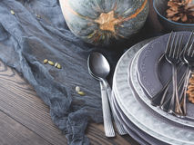 Натюрморт обедающего благодарения с сквошом и плитами Стоковое фото RF