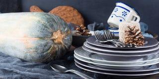 Натюрморт обедающего благодарения с тыквой знамена Стоковая Фотография RF