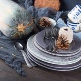 Натюрморт обедающего благодарения с тыквой квадрат Стоковое Изображение RF