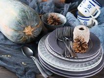 Натюрморт обедающего благодарения с тыквой Стоковая Фотография RF
