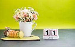Натюрморт 11-ое июня кубов календаря Стоковые Фото
