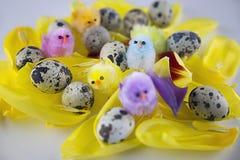 Натюрморт пасхи с яичками и цыплятами, поздравительной открыткой, праздничной предпосылкой, украшением на праздник пасхи стоковые изображения rf