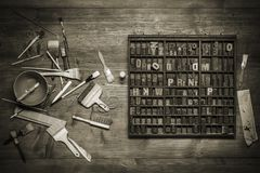 Натюрморт печати с литерностью стоковое фото rf