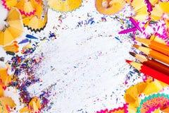 Натюрморт покрашенных shavings карандаша Стоковое Фото