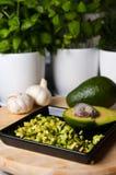Натюрморт плодоовощ авокадоа отрезал для еды Стоковая Фотография RF