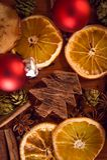 Натюрморт рождества с плодоовощ и специями Стоковая Фотография