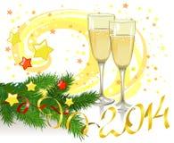 Натюрморт рождества с стеклами шампанского Стоковые Фото