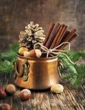 Натюрморт рождества: циннамон, гайки и ветви ели Стоковые Фотографии RF