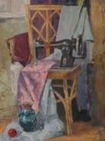 Натюрморт с античной швейной машиной Стоковая Фотография RF