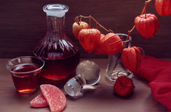 Натюрморт с питьем в краснокоричневых тонах Стоковые Изображения RF
