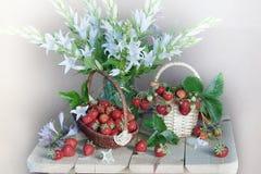 Натюрморт с цветками и ягодами Стоковое Изображение