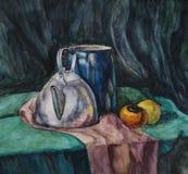 Натюрморт с чайником металла и Молок-может Стоковое Фото