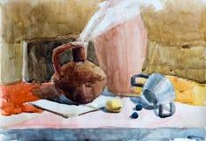 Натюрморт, чертеж акварели Стоковая Фотография