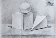 Натюрморт, чертеж карандаша для вас Стоковое фото RF