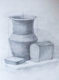 Натюрморт, чертеж карандаша Стоковое Фото