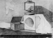 Натюрморт, чертеж карандаша Стоковые Фотографии RF