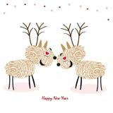Натянуйте вожжи олени с вектором поздравительной открытки Нового Года отпечатков пальцев счастливым Стоковая Фотография