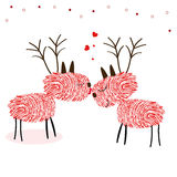 Натянуйте вожжи олени с вектором поздравительной открытки Нового Года отпечатков пальцев счастливым Стоковое Изображение RF