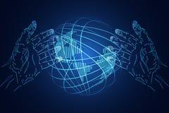 Наука дела предпосылки абстрактной технологии состоит: руки иллюстрация вектора