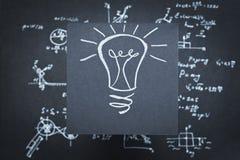 Научное исследование eureka вымысла идеи лампы стоковая фотография