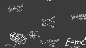 Научные формулы, уровнения и символы летают и делают форму человеческого мозга акции видеоматериалы