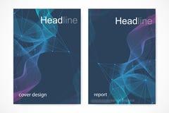 Научный шаблон дизайна брошюры Vector план рогульки, молекулярная структура с соединенными линиями и точки научно Стоковые Фотографии RF
