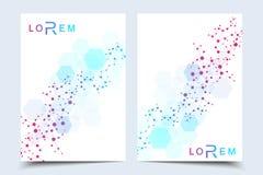 Научный шаблон дизайна брошюры Vector план рогульки, молекулярная структура с соединенными линиями и точки научно иллюстрация вектора