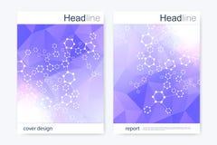 Научный шаблон дизайна брошюры План рогульки вектора Шестиугольная структура молекулы Стоковые Изображения