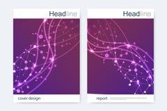 Научный шаблон дизайна брошюры Vector план рогульки, молекулярная структура с соединенными линиями и точки научно Стоковая Фотография RF
