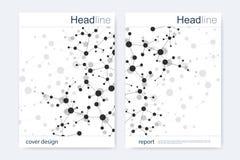 Научный шаблон дизайна брошюры Vector план рогульки, молекулярная структура с соединенными линиями и точки научно Стоковое Изображение