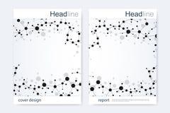 Научный шаблон дизайна брошюры Vector план рогульки, молекулярная структура с соединенными линиями и точки научно Стоковые Изображения