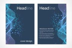 Научный шаблон дизайна брошюры Vector план рогульки, молекулярная структура с соединенными линиями и точки научно Стоковое Изображение RF
