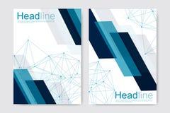 Научный шаблон дизайна брошюры Vector план рогульки, молекулярная структура с соединенными линиями и точки научно Стоковая Фотография
