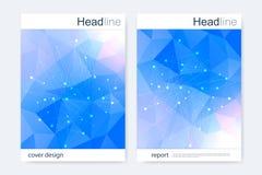 Научный шаблон дизайна брошюры Vector план рогульки, дна молекулярной структуры с соединенными линиями и точки Стоковое Фото