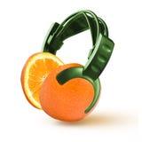 Наушники в форме апельсина Стоковое Фото