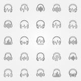 Наушники при установленные значки плана вектора звуковой войны бесплатная иллюстрация