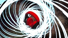Наушники dj спектра вселенной пирофакела космоса музыки светлые иллюстрация штока